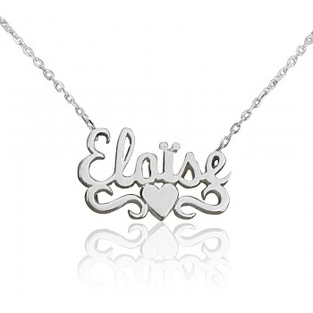 Nameplate, Heart and Arabesque Necklace