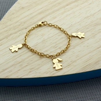 Personalized boy/girl bracelet Gold Plated