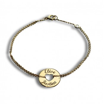 Heart Token Bracelet on 18k Gold Chain