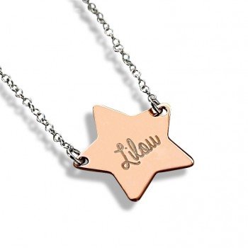 Double Star Rose Silver Necklace