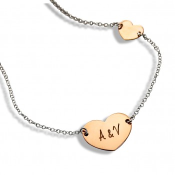 Double Heart Rose Silver Necklace