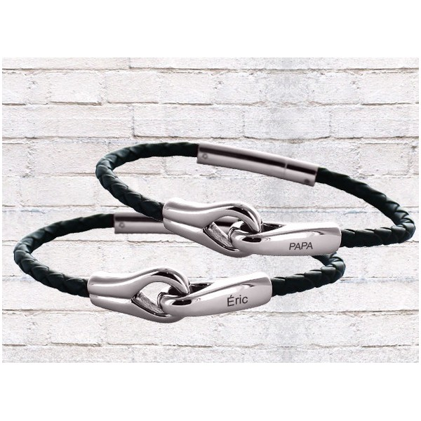 Leather Bracelet with Personalized Clasps