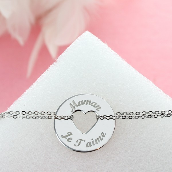 Large Bracelet with Engraved Heart Charm