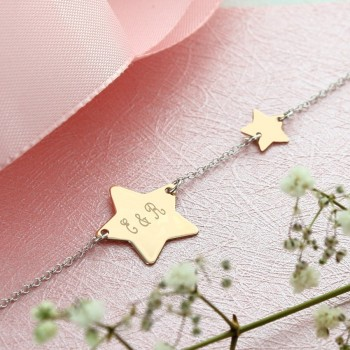 Rose Silver Double Star Bracelet