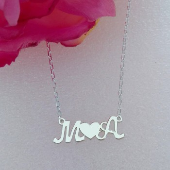 Two (2) Initials and Heart Necklace