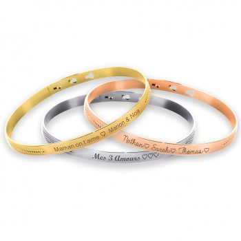 Trio Pearl Bangle Bracelets Sterling Silver, Rose Silver and Gold plated