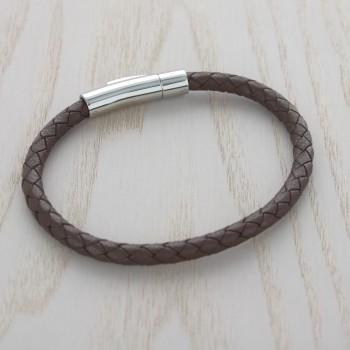 Braided Brown Leather Bracelet with Engraving on Clasp