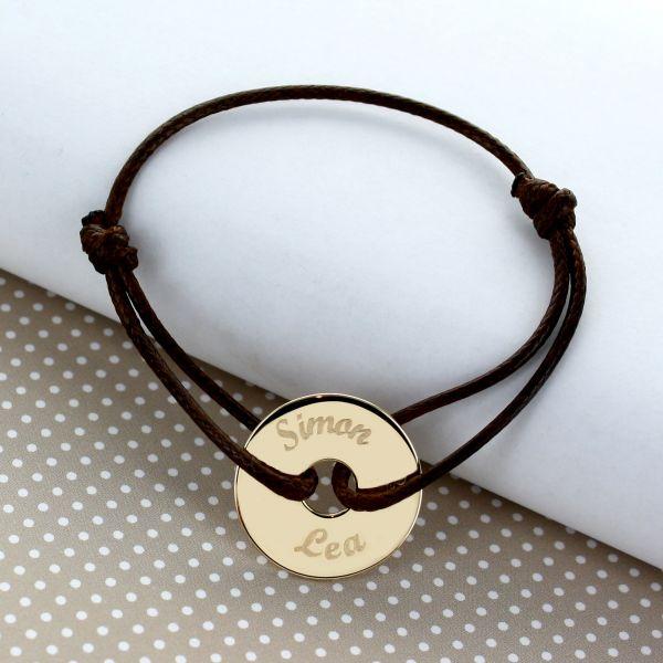 Bracelet cordon jeton lettre manuscrite