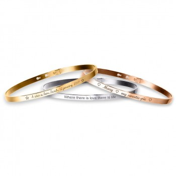 Trio Small Bangle Bracelets Silver, Rose Silver, Gold plated