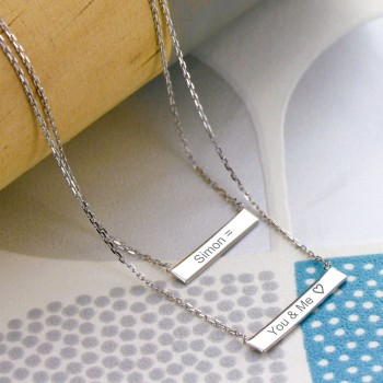 Double Bar Engraved Necklace