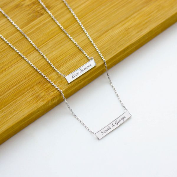 Beautiful Double Bar Engraved Necklace LM52