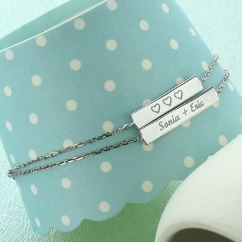 Double Bar Engraved Bracelet