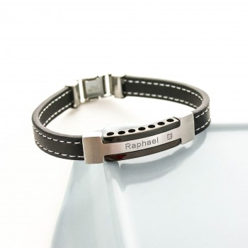 Men's Steel, Leather and Zirconium Bracelet