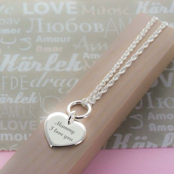 Engraved Heart, Twist Chain Necklace
