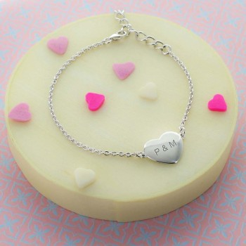 Engraved Convex Heart Bracelet