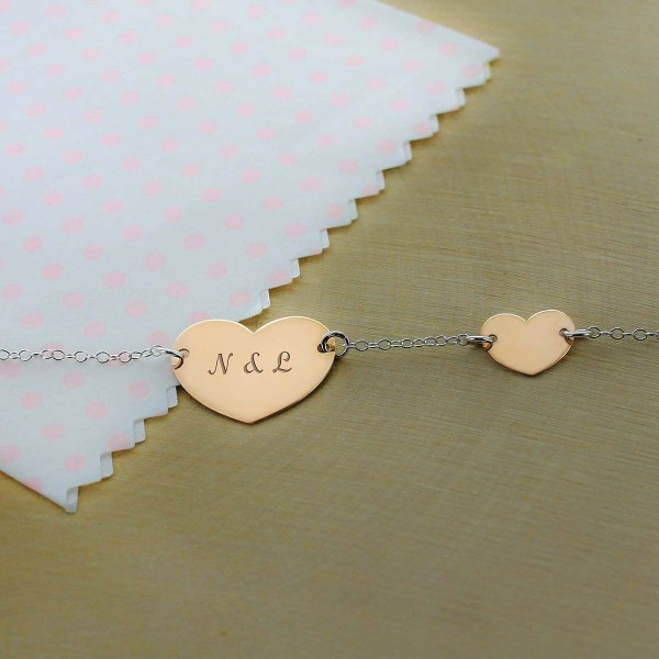Rose Silver Double Heart Bracelet
