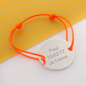 "Engraved Large Charm 1.4"" (3.5cm) Bracelet"