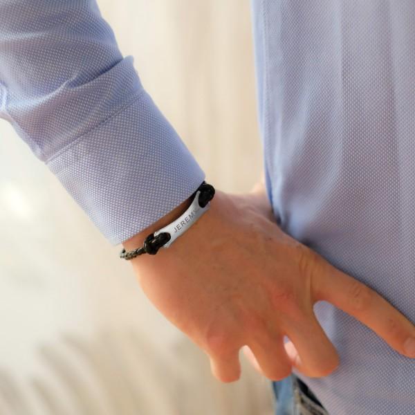Men's Engraved Steel and Leather Bracelet