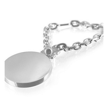 Personalised Sterling Silver Keychain - circular form